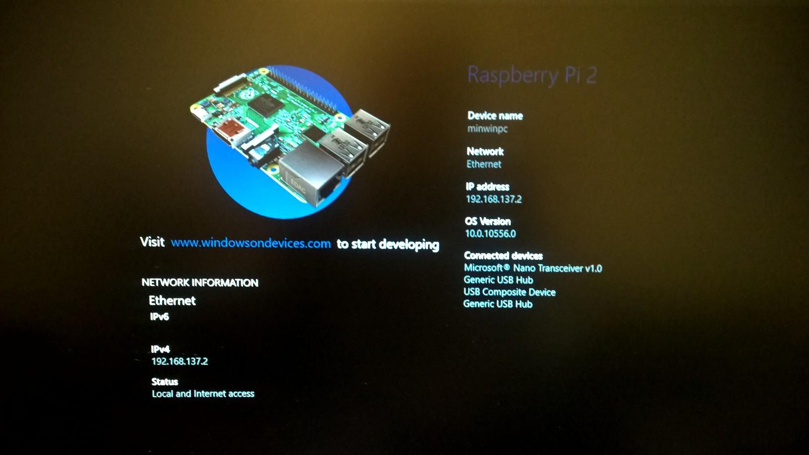Windows 10 enable ics - Rpi2 Win10 Dashboard